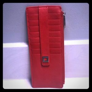 NWT Lodi's reds leather card wallet
